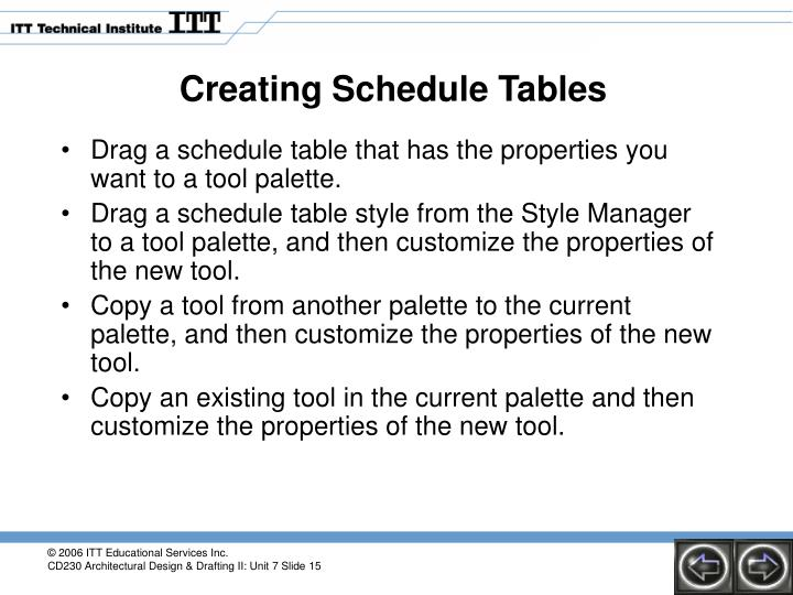 Creating Schedule Tables