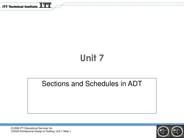 Sections and schedules in adt
