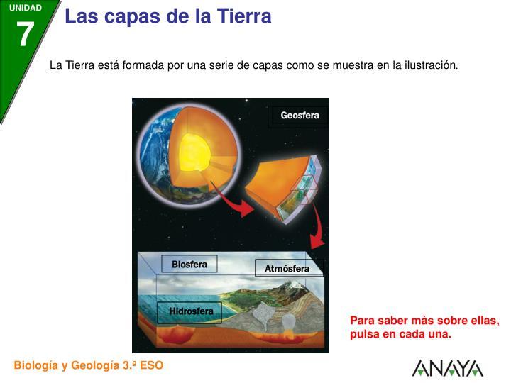 La Tierra está formada por una serie de capas como se muestra en la ilustración