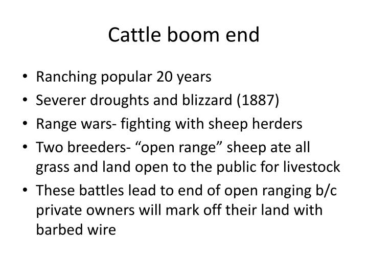 Cattle boom end