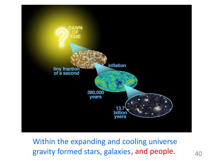 Within the expanding and cooling universe  gravity formed stars, galaxies