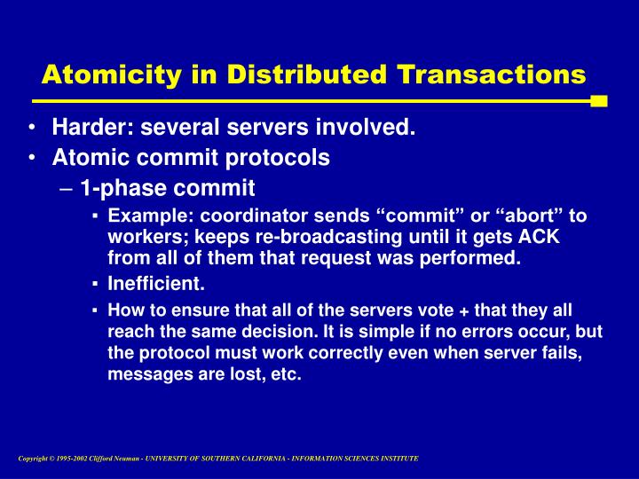 Atomicity in Distributed Transactions