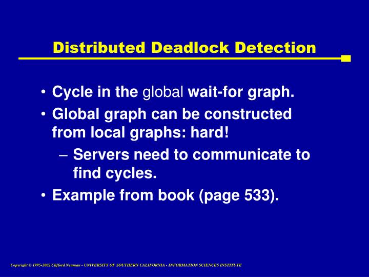Distributed Deadlock Detection