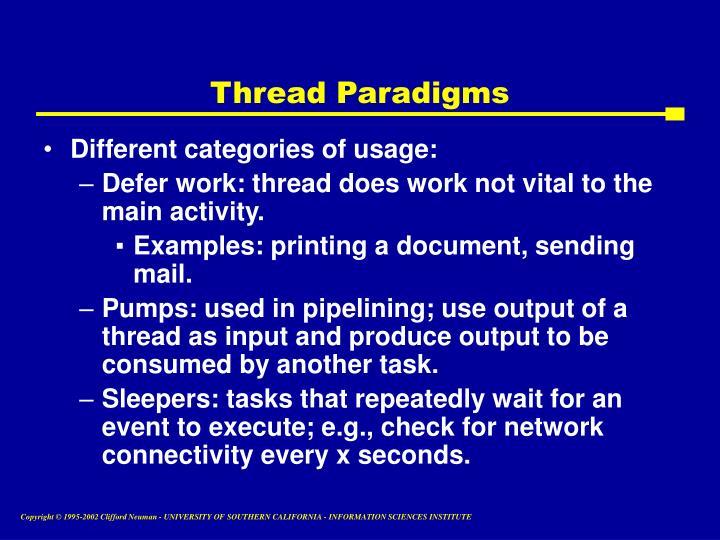 Thread Paradigms