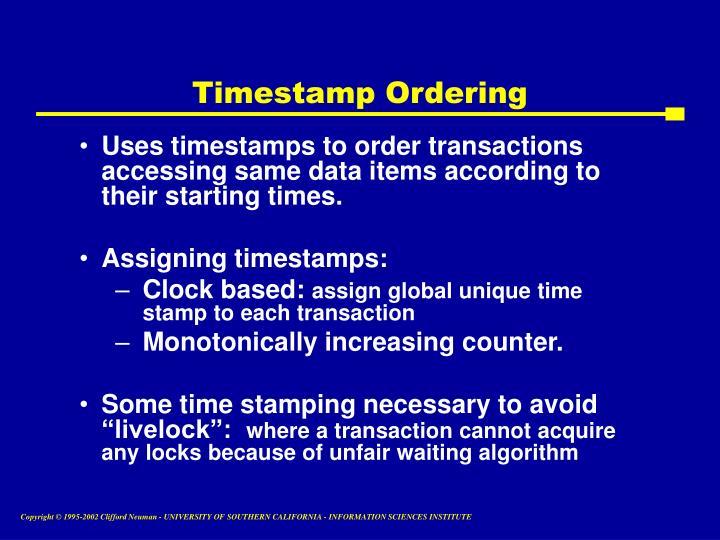 Timestamp Ordering