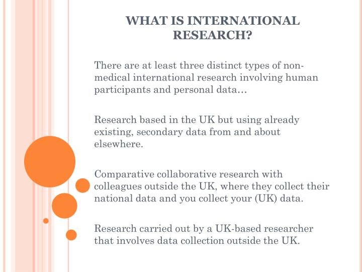 What is international research