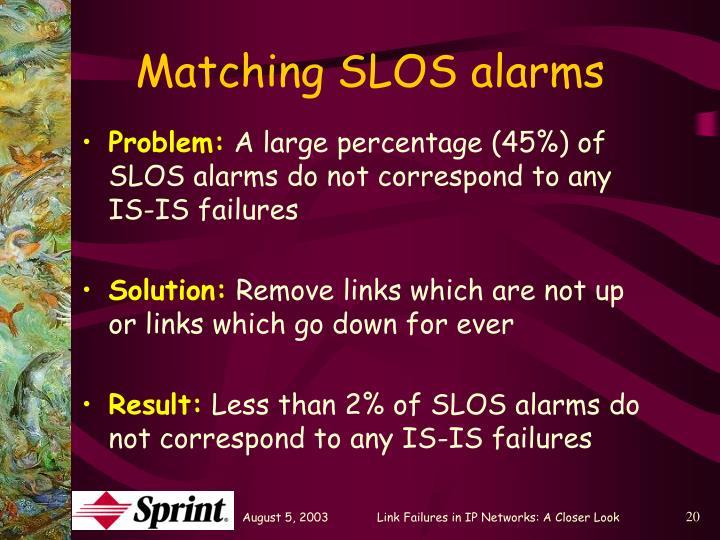 Matching SLOS alarms