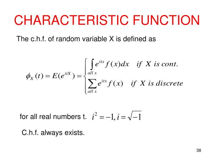 CHARACTERISTIC FUNCTION
