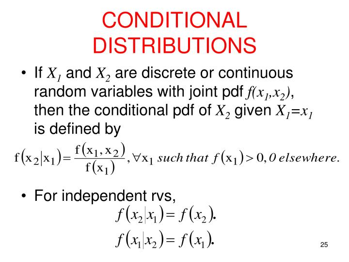 CONDITIONAL DISTRIBUTIONS