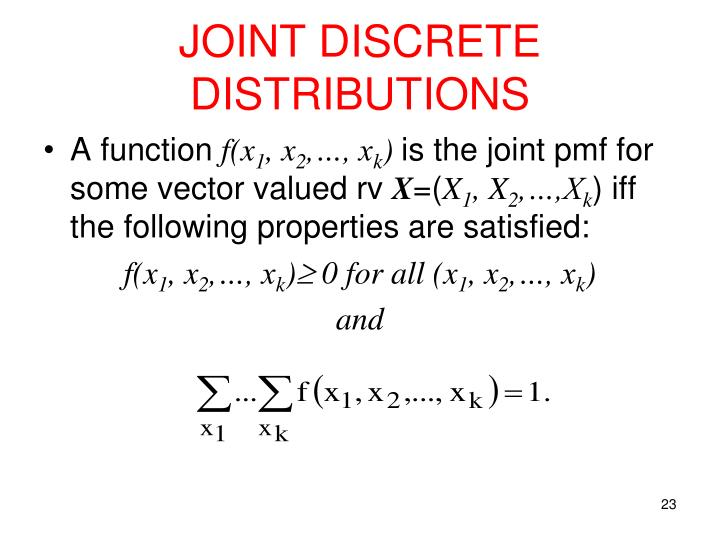JOINT DISCRETE DISTRIBUTIONS