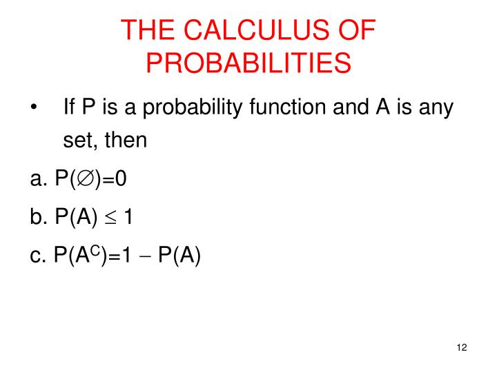 THE CALCULUS OF PROBABILITIES