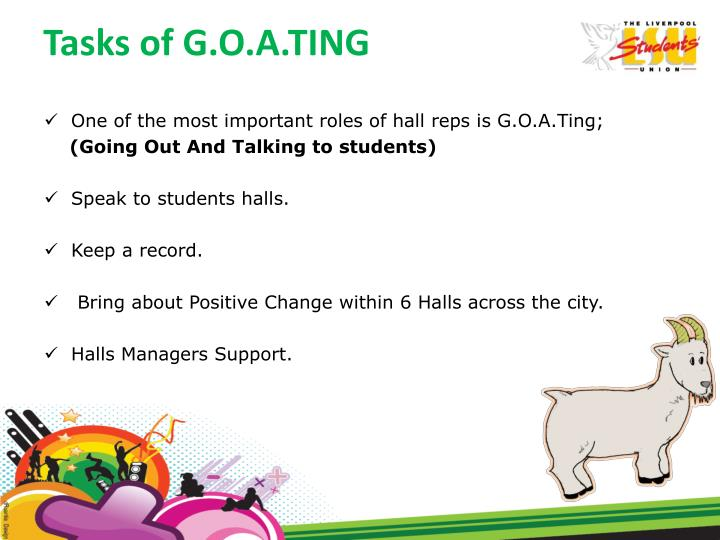 Tasks of G.O.A.TING