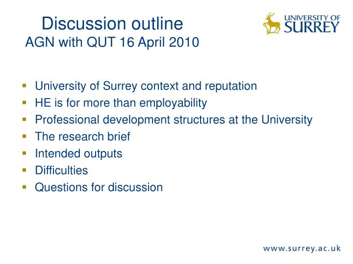Discussion outline agn with qut 16 april 2010