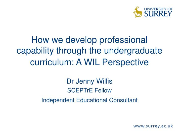 How we develop professional capability through the undergraduate curriculum a wil perspective
