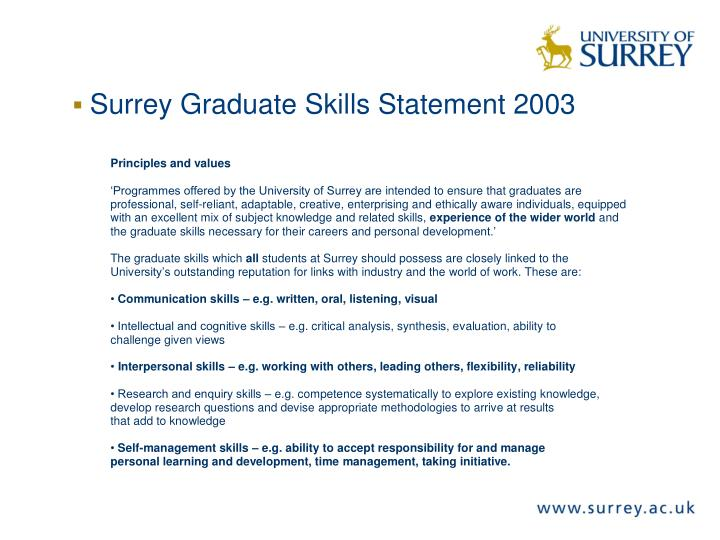Surrey Graduate Skills Statement 2003