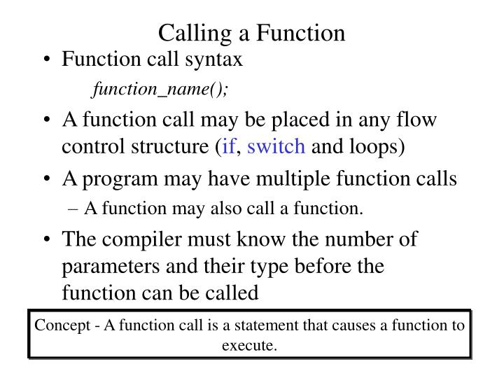 Calling a Function
