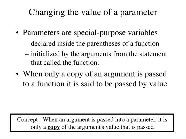 Changing the value of a parameter