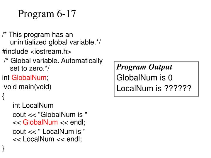 /* This program has an uninitialized global variable.*/