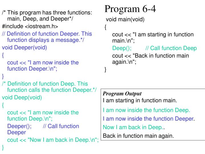 /* This program has three functions: main, Deep, and Deeper*/