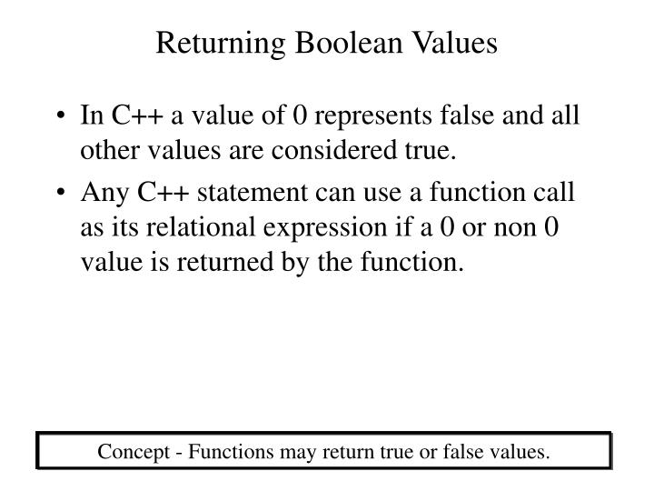 Returning Boolean Values