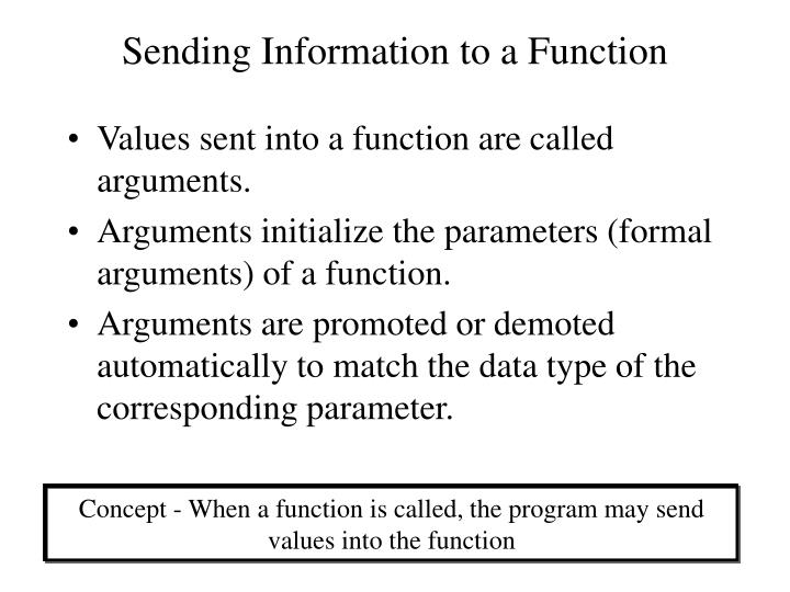 Sending Information to a Function