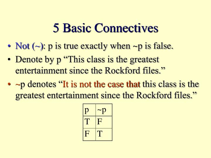 5 Basic Connectives