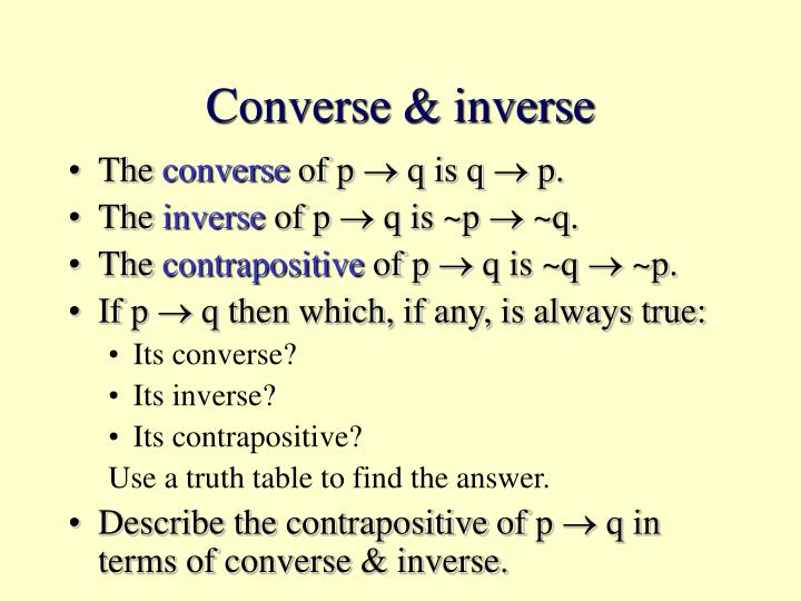 Converse & inverse