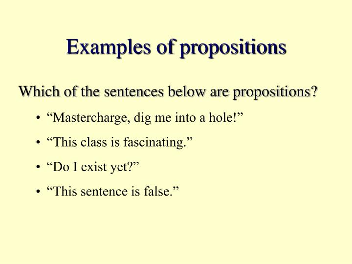 Examples of propositions