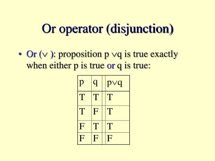 Or operator (disjunction)