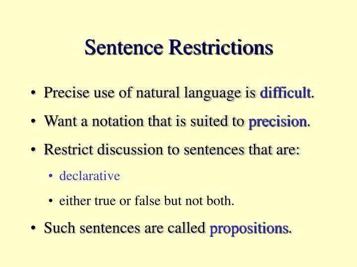 Sentence Restrictions