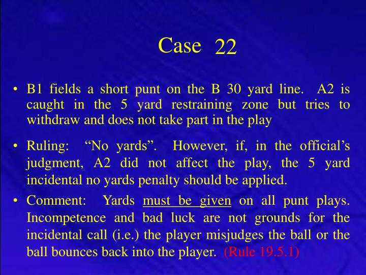 B1 fields a short punt on the B 30 yard line.  A2 is caught in the 5 yard restraining zone but tries to withdraw and does not take part in the play