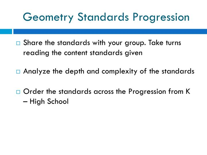 Geometry Standards Progression
