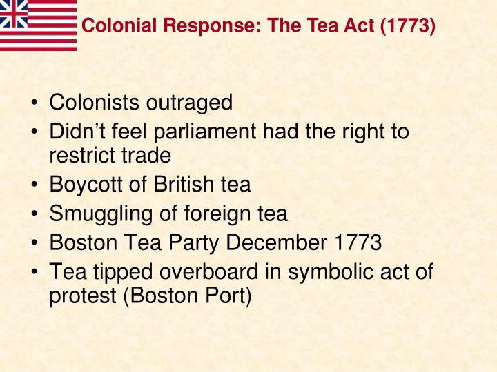 Colonial Response: The Tea Act (1773)