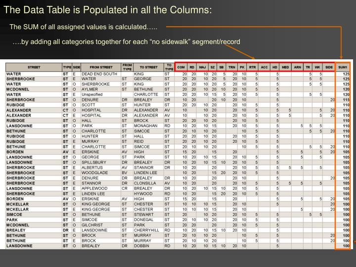 The Data Table is Populated in all the Columns: