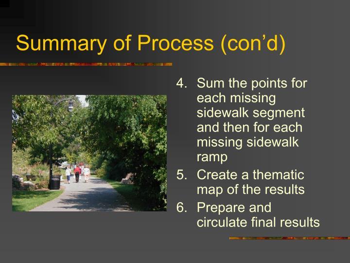 Summary of Process (con'd)