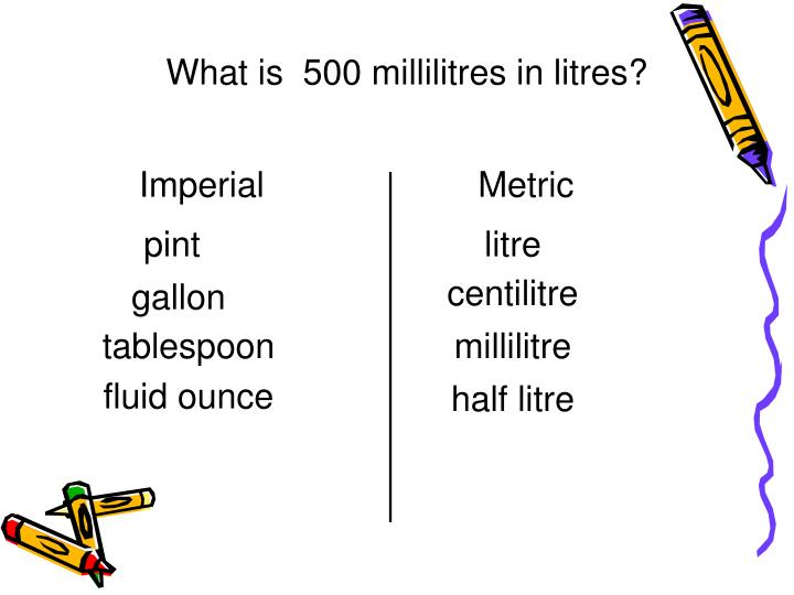 What is  500 millilitres in litres?