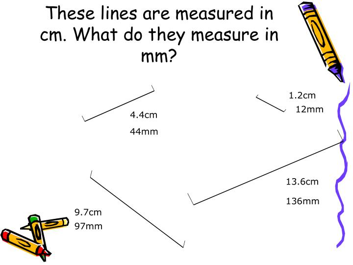 These lines are measured in cm. What do they measure in mm?