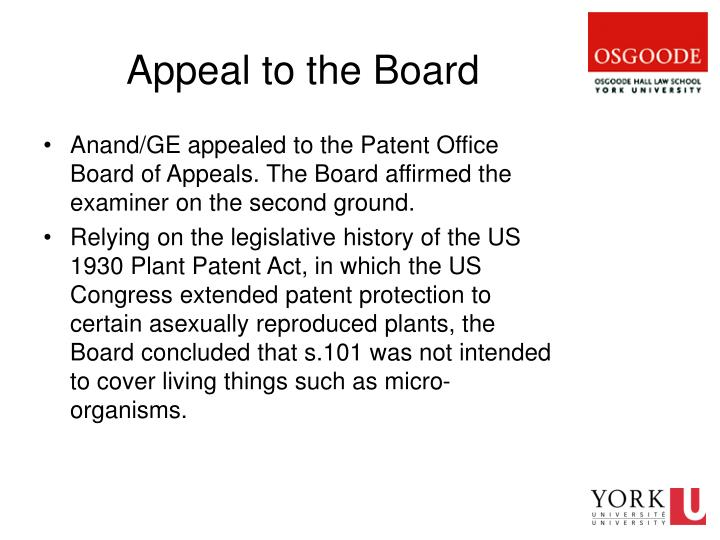 Appeal to the Board
