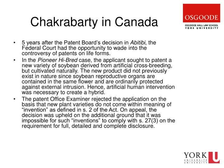 Chakrabarty in Canada