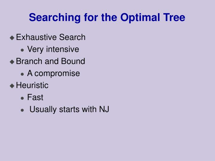Searching for the Optimal Tree