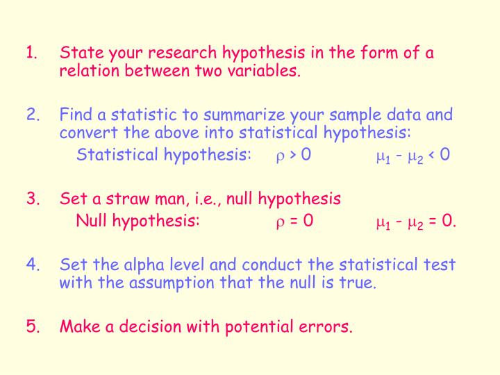 1.	State your research hypothesis in the form of a relation between two variables.