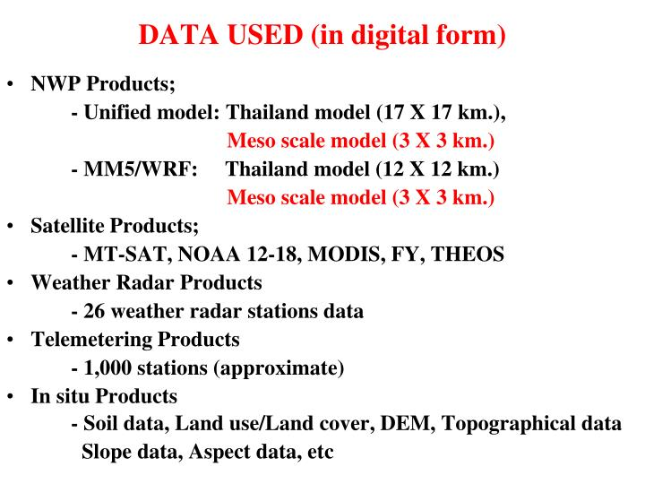 DATA USED (in digital form)