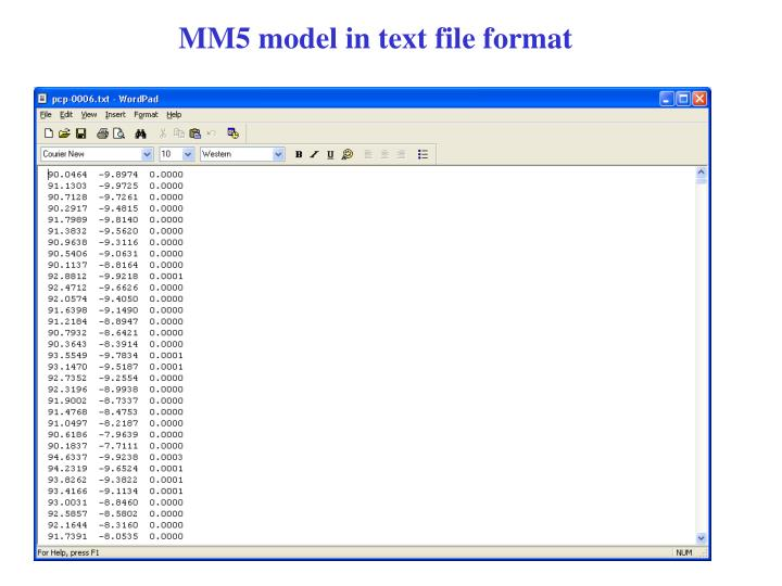 MM5 model in text file format