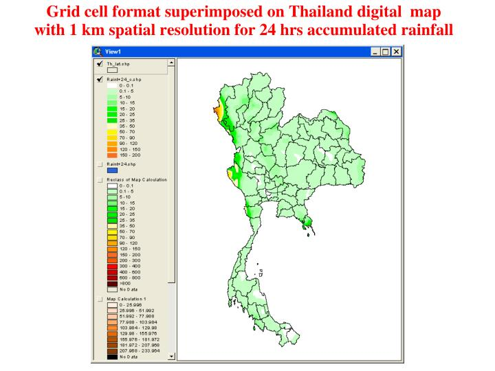 Grid cell format superimposed on Thailand digital  map