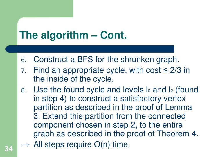 The algorithm – Cont.