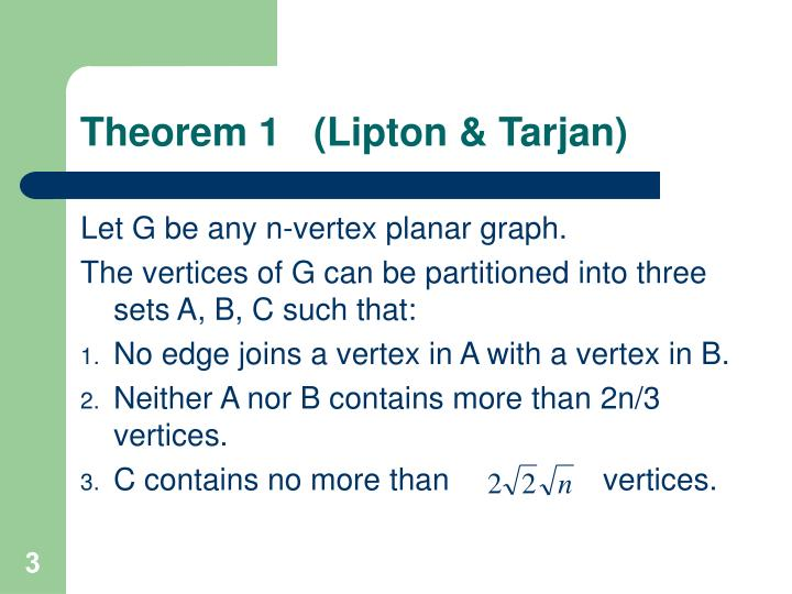 Theorem 1 lipton tarjan