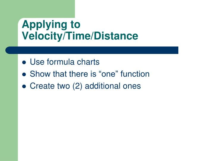 Applying to Velocity/Time/Distance
