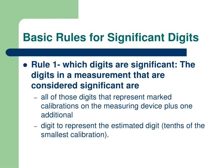 Basic Rules for Significant Digits