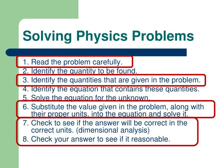 Solving Physics Problems