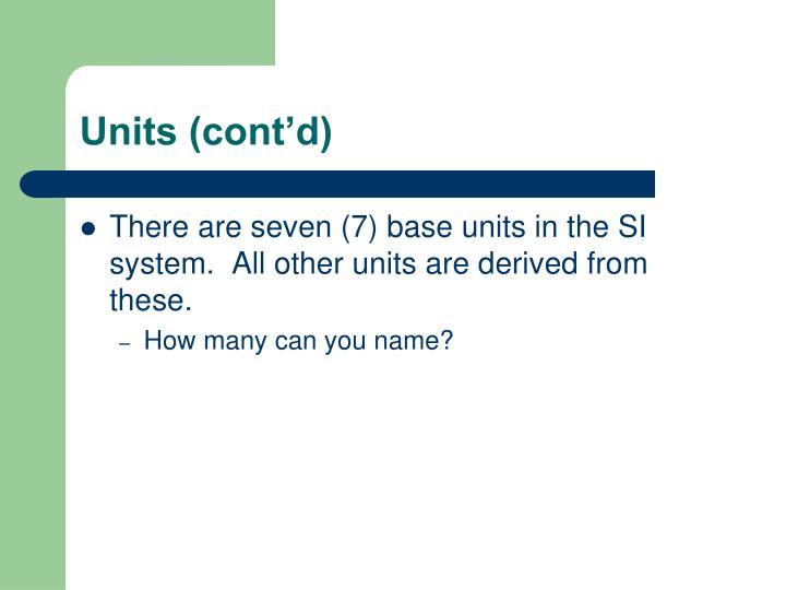 Units (cont'd)
